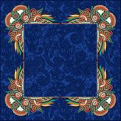 floral frame, ethnic ukrainian ornament on paisley background wi