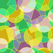 Stained Glass Circles And Squares Abstract Seamless Pattern