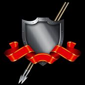 Medieval Silver Shield And Red Banner.