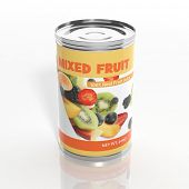 3D mixed fruit metallic can isolated on white