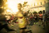 Blur Of Marathon Runner At Start Point  Begin The Competition