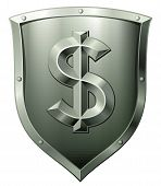 Metal shield with dollar sign