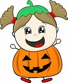 little girl with pumpkin costume