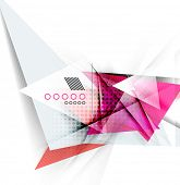 Color triangles, unusual abstract background. Realistic paper 3d composition with shadows and glossy elements, origami concept layout