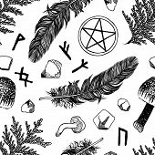 Vector seamless pattern with ritual things, black contour