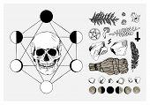 Vector set of ritual things, black contour