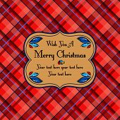 Christmas plaid tartan pattern card, red