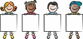 vector kids holding blank card