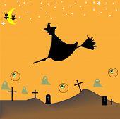 Cartoon-style representation of a Halloween night