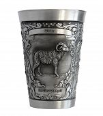 Silver Cup With A Picture Of An Aries Zodiac
