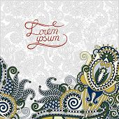 paisley design on decorative floral background for invitation, p