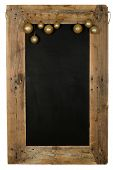 picture of wooden pallet  - Chalkboard christmas restaurant menu board reclaimed pallet wooden frame and hanging xmas balls isolated on white with copy space - JPG