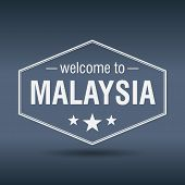 Welcome To Malaysia Hexagonal White Vintage Label