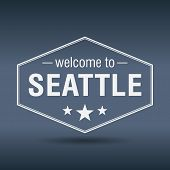Welcome To Seattle Hexagonal White Vintage Label