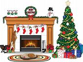 Christmas Tree Fireplace Scene