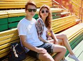 Summer Portrait Young Modern Stylish Couple In Sunglasses Rest In The City