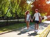 Urban Young Couple In Love Walking In Sunny Summer Day, Youth, Love, Dating - Concept