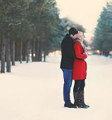 Young Couple In Love Outdoors In The Winter. Soft Vintage Color