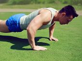 Sportsman Push Ups Outside, Fitness, Workout, Sport - Concept