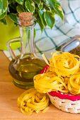 Italian Pasta tagliatelle and olive oil