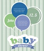 Colorful party balloons celebrating a newborn baby boy. Shower invitation