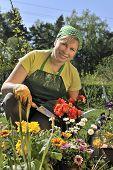 happy woman with flowers in her garden
