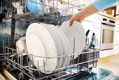 close-up of female hands loading dishes to the dishwasher
