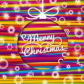 Merry Christmas greeting card made from bundle of bright laces on the paper with snowflakes. With sh