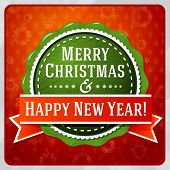 Vintage stylized green Merry Christmas and Happy New Year label, red ribbon. Bright background with