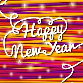 Happy New Year handwritten white swirl lettering on greeting card made from bundle of bright laces,