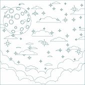 Illustration of a Cartoon moon with space for text in the clouds