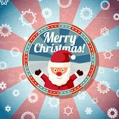 Badge with cute santa claus, and -Merry Christmas- wishes.