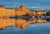 Bay in Stockholm at sunrise.