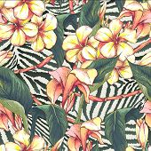 stock photo of leopard  - Tropical seamless pattern with exotic flowers on leopard print background - JPG