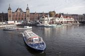 Tourist Boats In Front Of Central Station Amsterdam