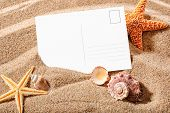 holiday beach concept with shells, sea stars and an blank postcard