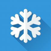 Simple snowflake icon in flat style