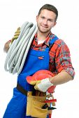 Handsome young handyman isolated on white background