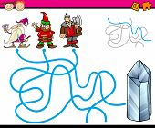 stock photo of dwarf  - Cartoon Illustration of Education Path or Maze Game for Preschool Children with Dwarfs and Gem - JPG