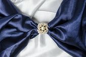 picture of brooch  - brooch for scarf with a pearl with a silk scarf - JPG