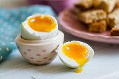 picture of duck egg blue  - Series on boiled duck egg for breakfast with toast soldiers  - JPG