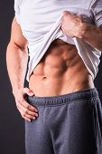 image of abdominal muscle  - Abdominal muscles strong man - JPG