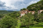 picture of naturel  - Town of Saint Circ Lapopie in France on a sunny day - JPG