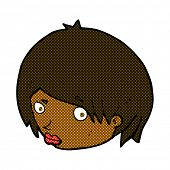 foto of raised-eyebrow  - retro comic book style cartoon female face with raised eyebrow - JPG