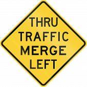 stock photo of merge  - US warning traffic sign - JPG