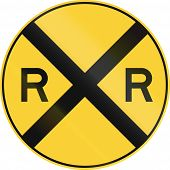 picture of railroad-sign  - US road warning sign  - JPG