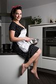 foto of pinafore  - the housewife in pin up style cooking meal. She wearing dress with pinafore ** Note: Visible grain at 100%, best at smaller sizes - JPG
