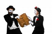foto of struggle  - Two memes as business man and woman fighting over briefcase isolated on white background - JPG