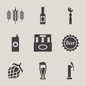 stock photo of bottles  - Beer vector icons set bottle - JPG