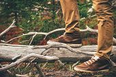 foto of swag  - Feet Man walking Outdoor Travel Lifestyle Fashion trendy style forest nature on background film effects colors - JPG